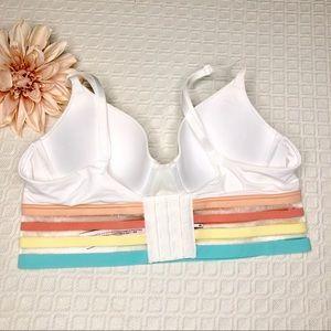 Victoria's Secret Intimates & Sleepwear - VS White Lined T Shirt Bra Longline Pastel Stripes